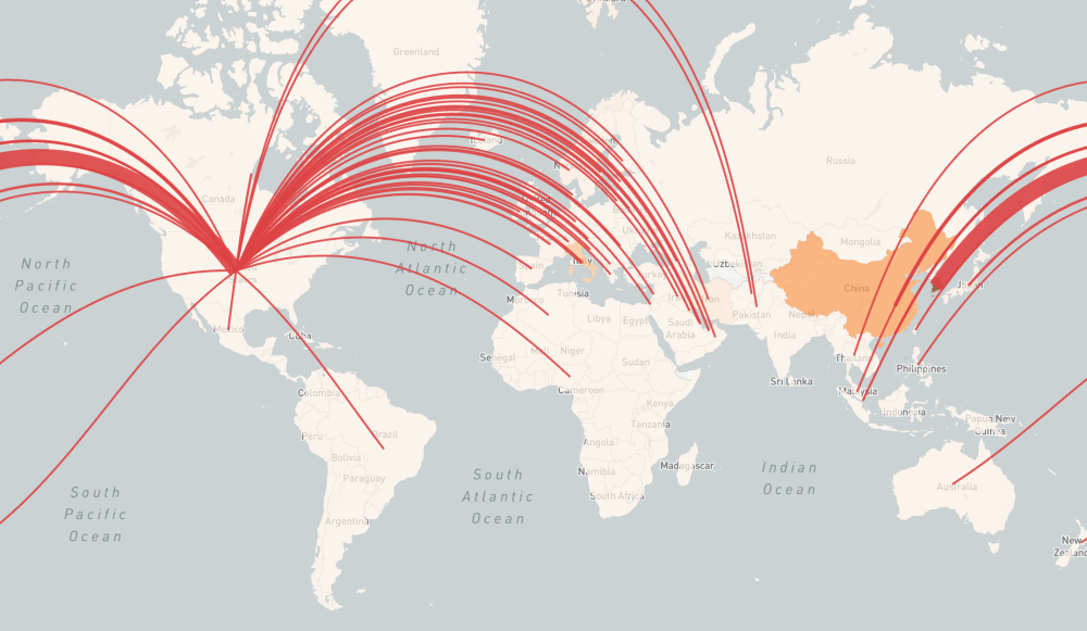 A global heat map of inbound COVID-19 risk is overlaid with red lines showing air travel routes to the United States from countries throughout Europe and Southeast Asia. The line from South Korea is thickest, showing the highest risk to the U.S. of importing COVID-19.