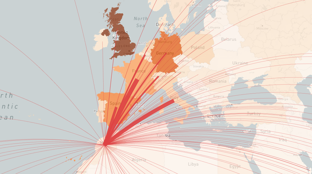 A heat map of Europe and northern Africa shows the risk of importing COVID-19 from various countries. Red lines show air travel routes importing COVID-19 to Morocco from countries throughout Europe and beyond. The heaviest lines appear to come from France and Italy.