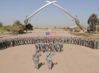 The colors are retired during a ceremony marking the end of the U.S. mission in Iraq in Baghdad on Dec. 15, 2011, photo by Erin A. Kirk-Cuomo/U.S. Department of Defense