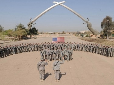 A U.S. Army reenlistment ceremony held at Baghdad's Cross Sabers