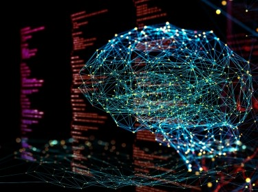 Digital background depicting innovative technologies in (AI) artificial systems, neural interfaces and internet machine learning technologies, photo by MF3d/Getty Images