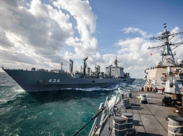 The USS John S. McCain conducts a replenishment-at-sea with the Japan Maritime Self-Defense Force fast combat support ship JS Omi, November 28, 2020, photo by MC2 Markus Castaneda/U.S. Navy
