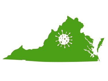 Map of the state of Virginia with a virus on it, illustration by Maxchered/Getty Images