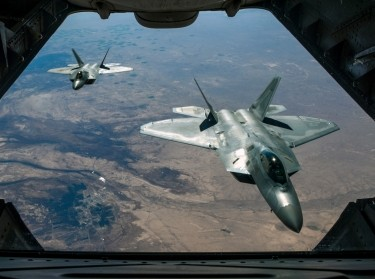 Two Air Force F-22 Raptors fly over Syria, February 2, 2018, while supporting Operation Inherent Resolve, photo by Staff Sgt. Colton Elliott/Air National Guard