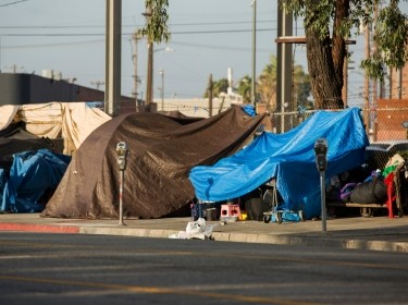 Homeless encampments along Central Avenue in downtown Los Angeles, California, photo by MattGush/Getty Images