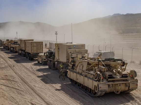 A convoy of U.S. military vehicles