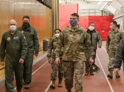 U.S. Air Force Brig. Gen. R. Scott Lambe (left), Task Force Southeast Deputy Commanding General, and U.S. Army Col. Larry Dewey (center), Defense Coordinating Officer, Federal Emergency Management Agency Region III, alongside various personnel, asses the Koehler Field House, located at East Stroudsburg University, Stroudsburg, Pa., April 14, 2020, photo by Pfc. Daniel J. Alkana, 22nd Mobile Public Affairs Detachment/U.S. Army