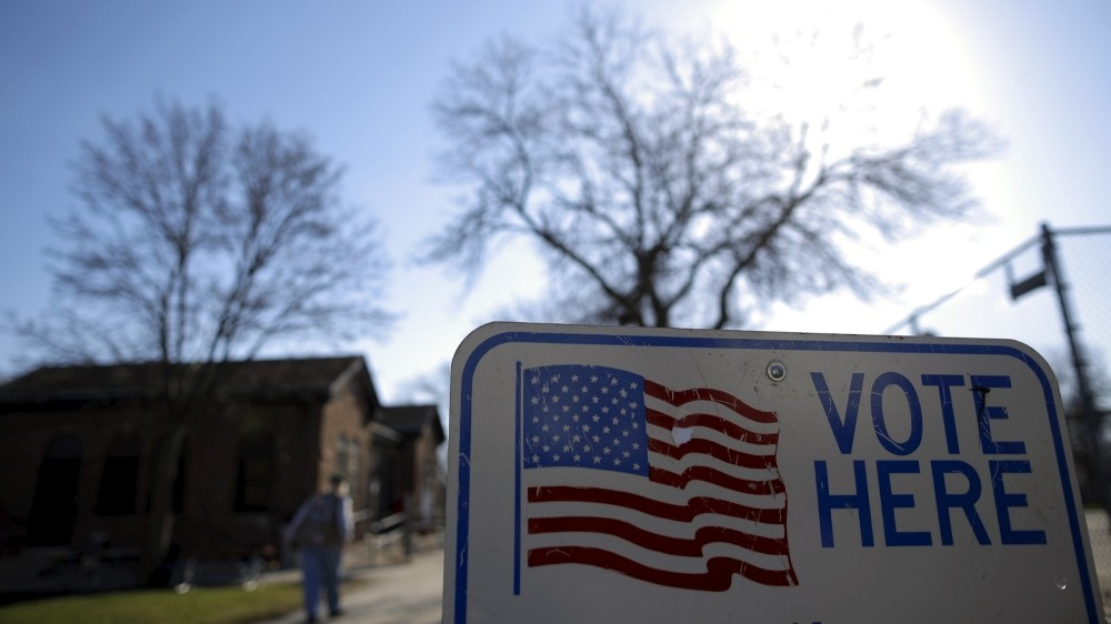 A voter arrives at a voting station in Milwaukee