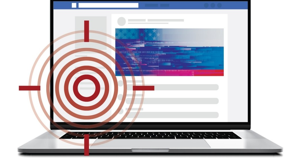Screenshot of Facebook with a target projected overtop