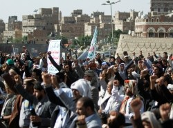 Supporters of the Houthi movement take part in a rally marking the anniversary of launching their motto (Sarkha) in which they call for death to America and death to Israel in Sanaa, Yemen, June 28, 2019, photo by Mohamed al-Sayaghi/Reuters