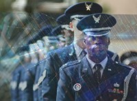 The Patrick Air Force Base Honor Guard waits for the open ranks inspection portion of the 2004 Air Force Space Command honor guard competition here March 23, photo by Tech. Sgt. Ken Bergmann/U.S. Air Force