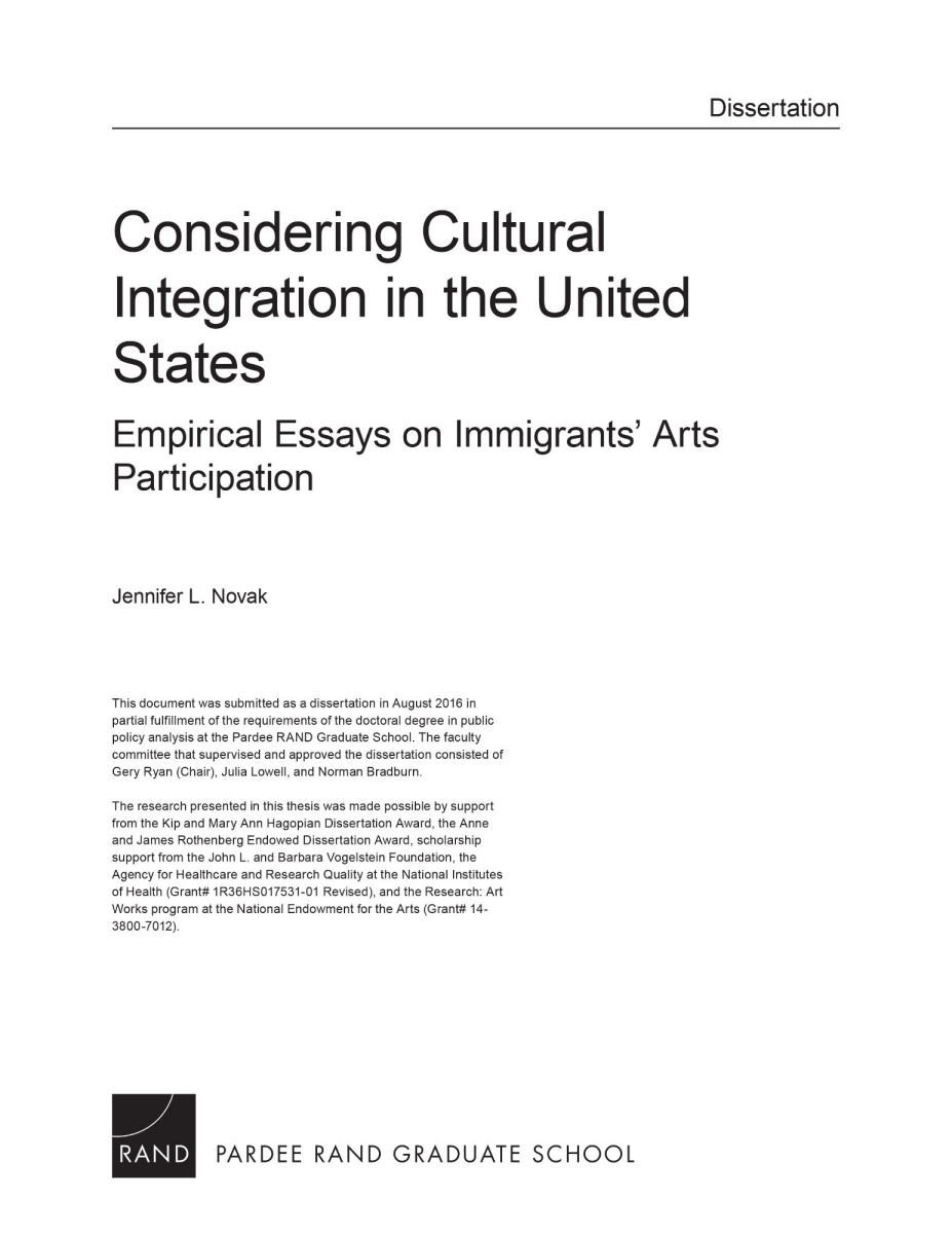 considering cultural integration in the united states empirical  considering cultural integration in the united states empirical essays on immigrants arts participation rand