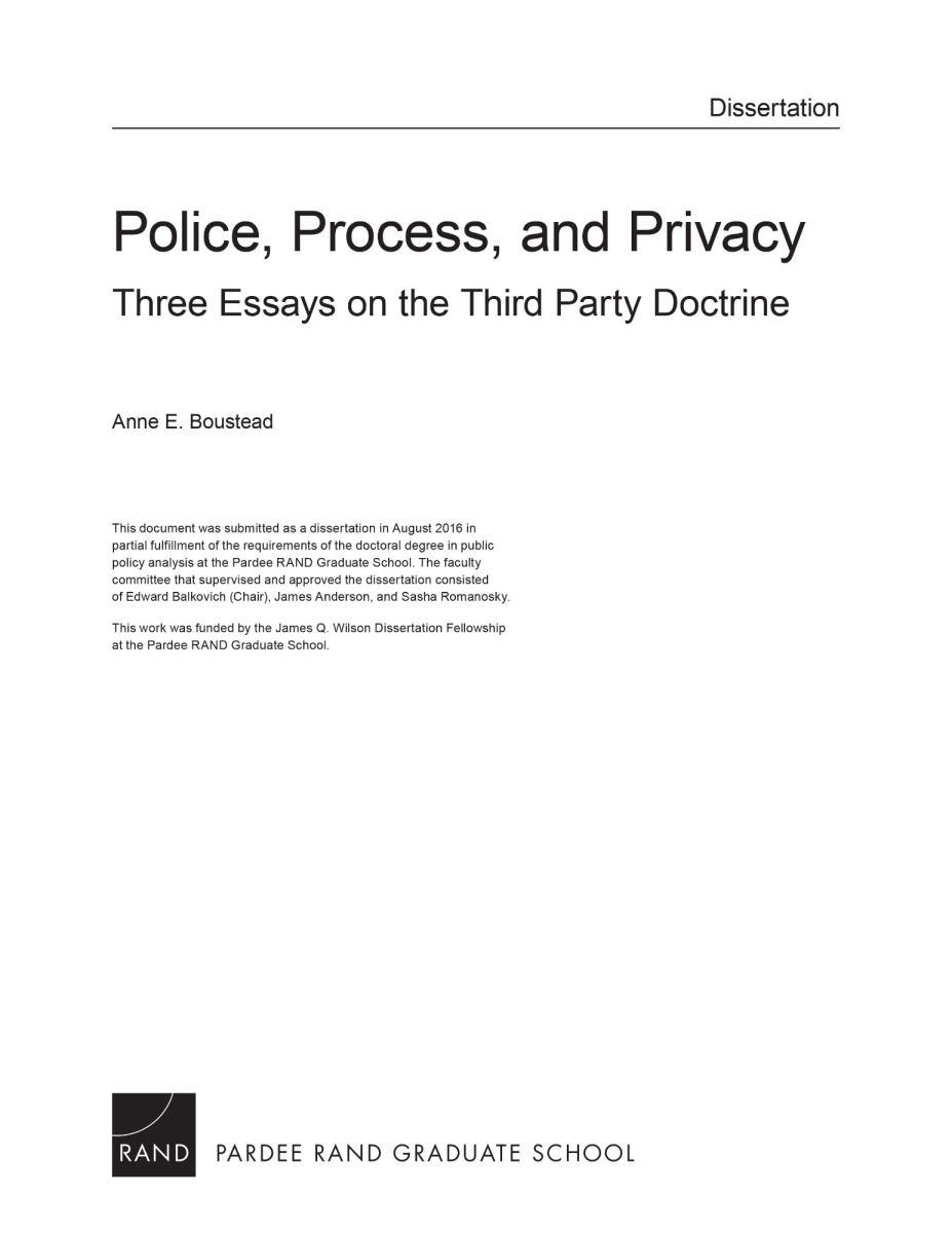 police process and privacy three essays on the third party police process and privacy three essays on the third party doctrine rand