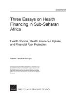 three essays on health financing in sub saharan africa health  three essays on health financing in sub saharan africa