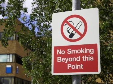 A red No Smoking sign