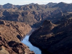 The Colorado River flows through Black Canyon, south of Hoover Dam
