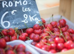 Cherries for sale in French market