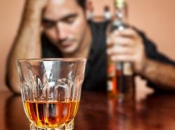 Man abusing alcohol