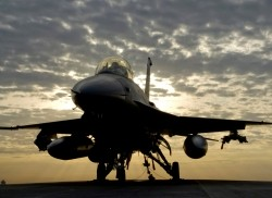 F16 airplane at sunrise