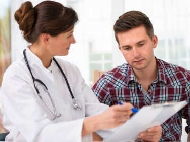 doctor explaining options to patient