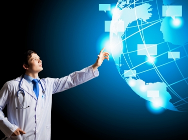 doctor looking at health data around the world