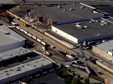 A freight train derailed in Northridge, California after an earthquake measuring 6.6 on the Richter scale hit the Los Angeles area Janaury 17, 1994
