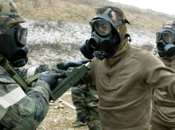 U.S. soldiers during an exercise on chemical, biological, and radiological warfare near the DMZ