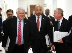 U.S. Representative John Carter (R-TX) and U.S. Homeland Security Secretary Jeh Johnson on Capitol Hill