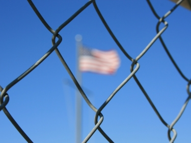 Chain link fence protecting American borde