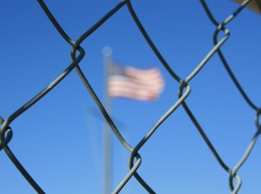 Chain link fence protecting American border