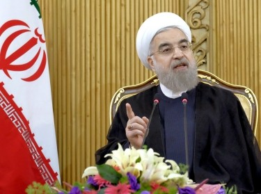 Iranian President Hassan Rouhani speaks in Tehran after returning from the annual UN General Assembly, September 29, 2015