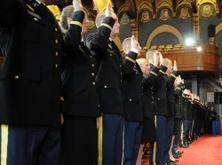 Army Chief of Staff Gen. George W. Casey Jr. swears in new officers, May 21, 2010