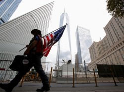A man arrives at the World Trade Center complex on the 15th anniversary of the 9/11 attacks in New York City, September 11, 2016