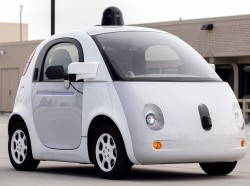 A prototype of Google's self-driving vehicle is seen in Mountain View, California, September 29, 2015