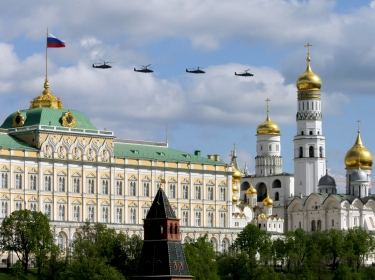 Russian military helicopters fly during rehearsals for the Victory Day military parade in Moscow, May 3, 2014