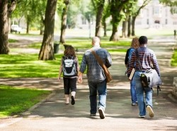 University students walking on campus road