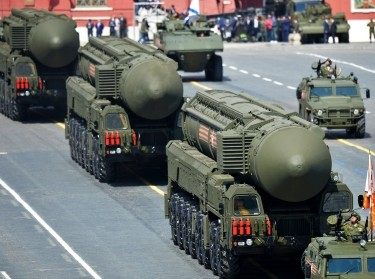 Russian RS-24 Yars/SS-27 Mod 2 solid-propellant intercontinental ballistic missiles drive during the Victory Day parade at Red Square in Moscow, Russia, May 9, 2015