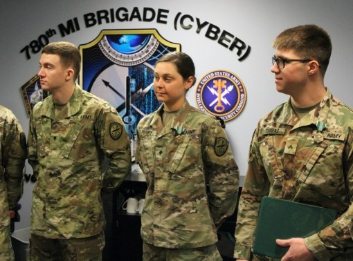 Spc. Eva Perry is assigned to B Company, 782nd Military Intelligence (MI) Battalion (Cyber), Fort Gordon, Georgia and is the 2019 Soldier of the Year and the 780th Military Intelligence Brigade (Cyber) Best Warrior (Soldier), and Cpl. Kyle Tamraz is assigned to B Company, 781st MI Battalion (Cyber), Fort Meade, Maryland, and is the Noncommissioned Officer of the Year and brigade's Best Warrior (NCO)