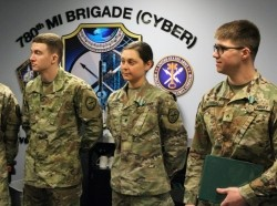 Spc. Eva Perry is assigned to B Company, 782nd Military Intelligence (MI) Battalion (Cyber), Fort Gordon, Georgia and is the 2019 Soldier of the Year and the 780th Military Intelligence Brigade (Cyber) Best Warrior (Soldier), and Cpl. Kyle Tamraz is assigned to B Company, 781st MI Battalion (Cyber), Fort Meade, Maryland, and is the Noncommissioned Officer of the Year and brigade's Best Warrior (NCO), photo by Steven P Stover (INSCOM)/U.S. Army
