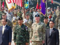 Army Maj. Gen. Pete Johnson, the U.S. Army, Pacific deputy commanding general, and his foreign counterparts during a ceremony in Phitsanulok Province, Thailand, Feb. 25, 2020