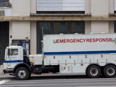 New York, NY, USA - October 31, 2012: NYPD police emergency response vehicle parked in the streets of Lower Manhattan in the aftermath of Hurricane Sandy in New York, NY, USA, on October 31, 2012.