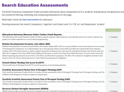Screenshot of RAND Education Assessment Finder tool