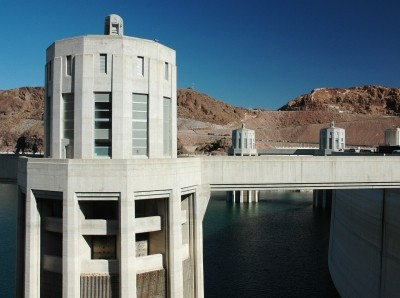 Hoover Dam intake tower on Lake Mead on the Colorado River. Photo by HKPNC / Getty Images