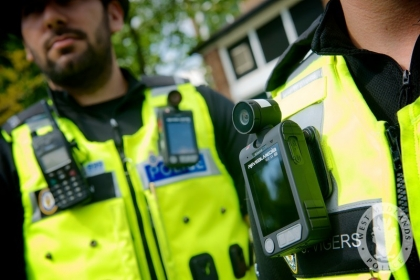 West Midlands Police officers trialling the use of body worn cameras.
