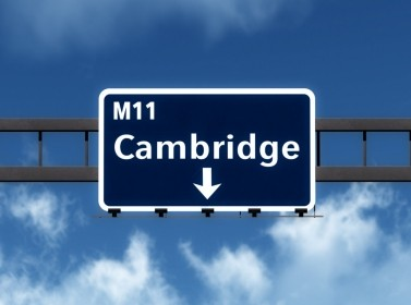 Cambridge, UK, M11 highway road sign