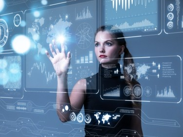 Woman with futuristic user interface concept