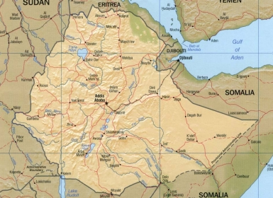 Shaded relief map of Ethiopia