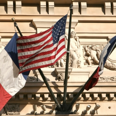 French and U.S. flags on display