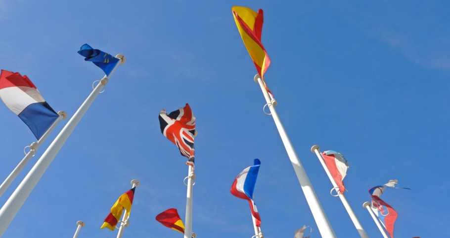 european flags on poles