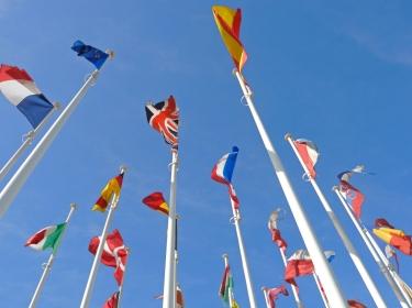european flags on poles